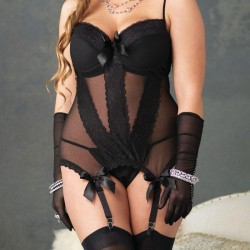 Leg Avenue Mesh Cami Garter And Thong