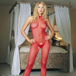 Leg Avenue Red Seamless High Neck Halter Bodystocking